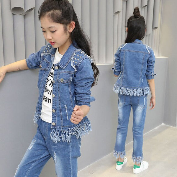 Denim Rivet Jackets + Jeans 2PCS Set Girls
