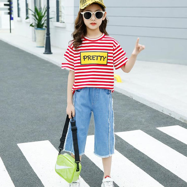 Girls clothesT-shirt fashion striped short-sleeved shirt
