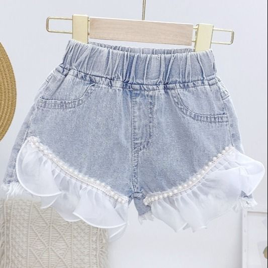 Baby Girl Denim Shorts Fashion Lace Beaded Jeans
