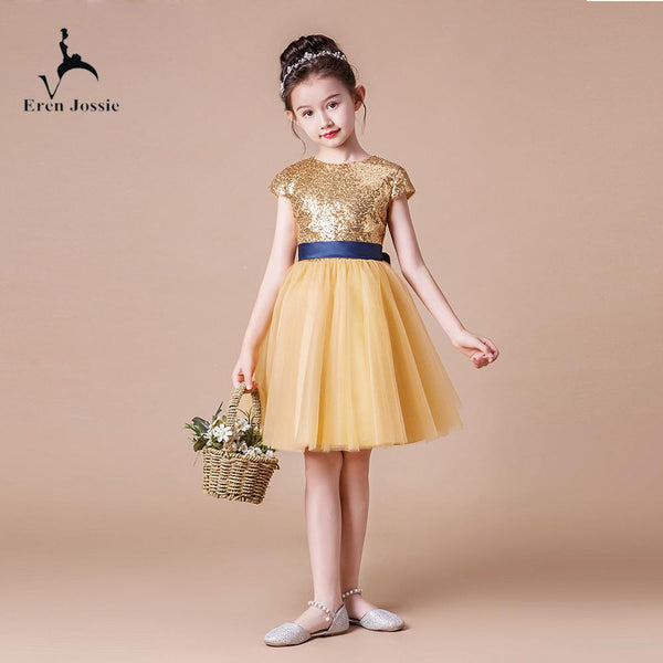 Little Queen Birthday Party Dress Knee Length Gold Sequin