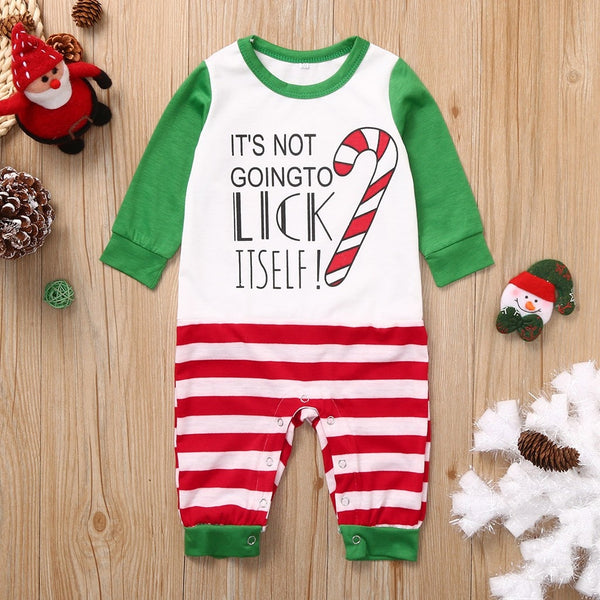 2019 kids winter Baby Striped Letter Print Romper