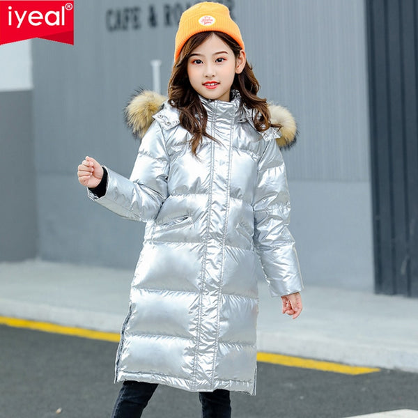 Girl Down Jacket Thin Kids Quilted Parkas Real Fur Hooded