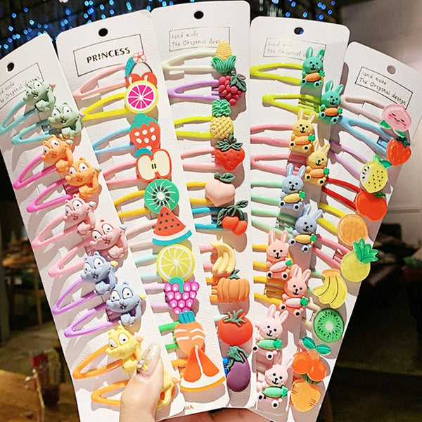 1Set Girls Cute Cartoon Animal Fruit Colorfur Hairpins