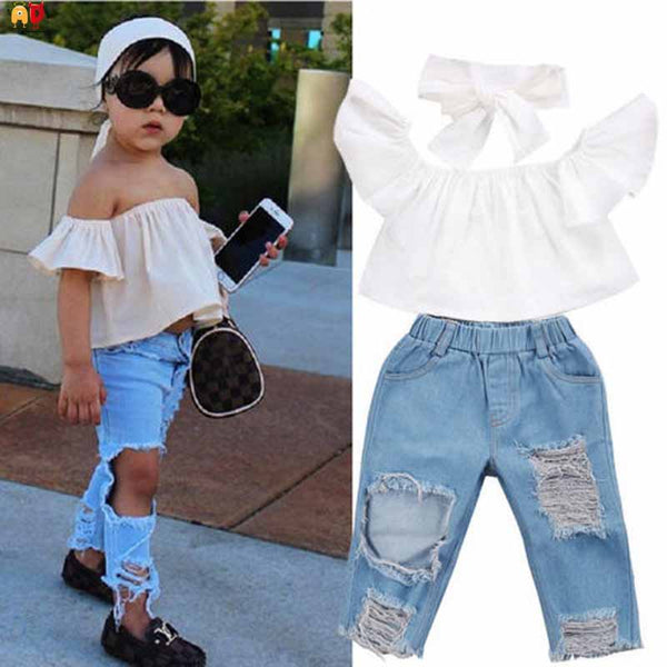AD Stylish Girls Shirt and Jeans Children's Sets