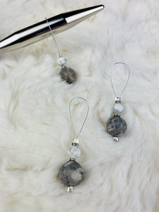 Stitch Markers for Knitting - White and Grey Marble