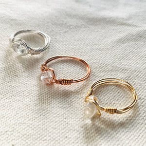 Wire Wrapped Ring - Solitaire Clear Glass