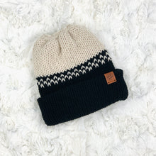 Load image into Gallery viewer, Ponytail Beanie - Fair Isle Cream and Black