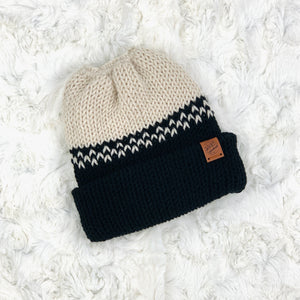 Ponytail Beanie - Fair Isle Cream and Black