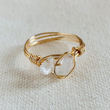 Load image into Gallery viewer, Wire Wrapped Ring - Dual Clear Glass