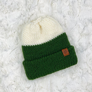Ponytail Beanie - Cream and Olive