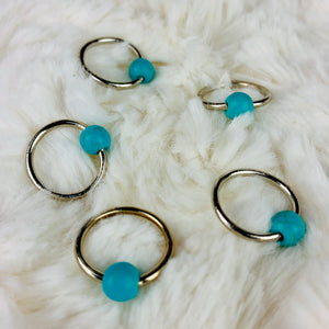 Stitch Markers for Knitting - Snagless Rings Turquoise