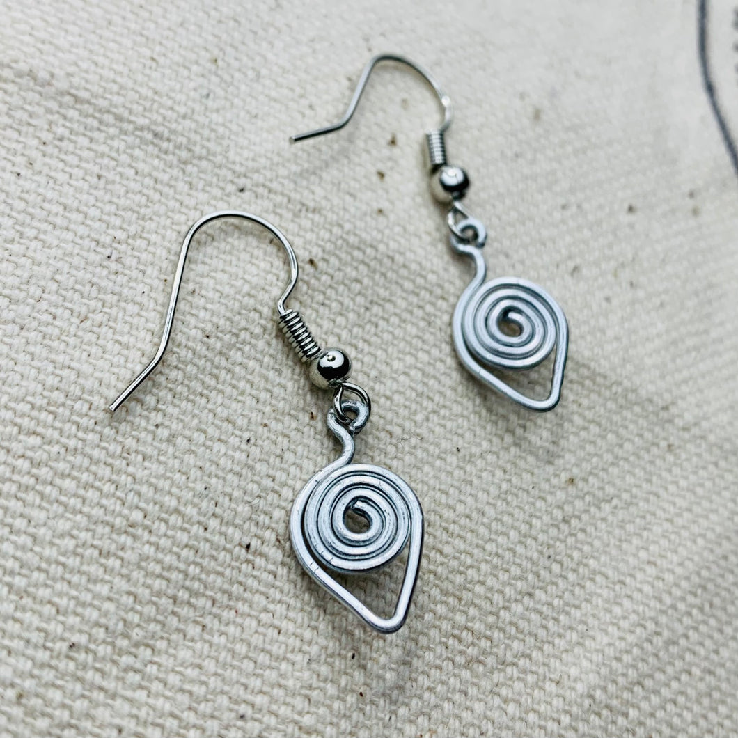 Wire Wrapped Earrings - Spiral Dip