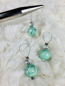 Stitch Markers for Knitting - White and Turquoise