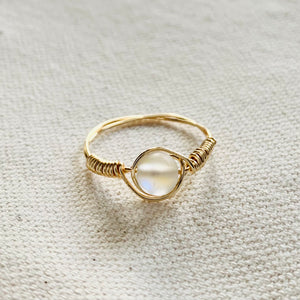 Wire Wrapped Ring - Golden Opal