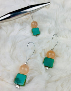 Stitch Markers for Knitting - Light Coral and Turquoise