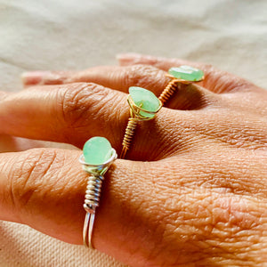Wire Wrapped Ring - Aquamarine Stone