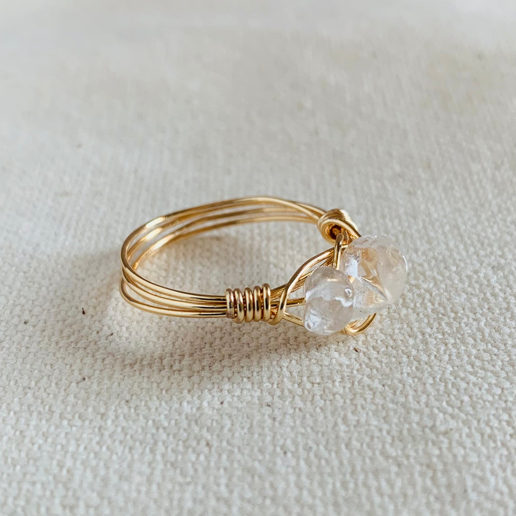 Wire Wrapped Ring - Dual Clear Glass