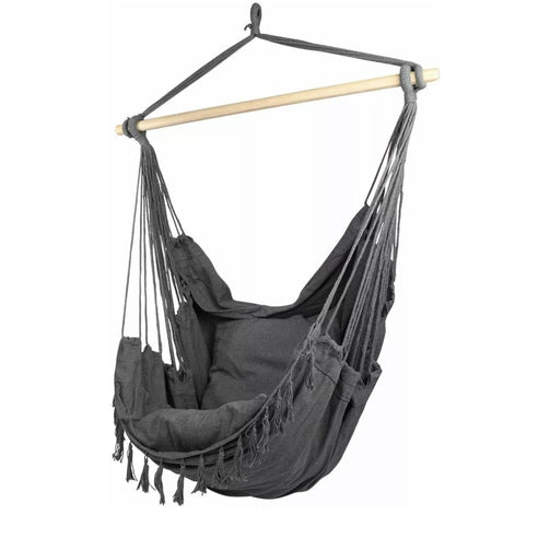 Black hanging chair swing with wooden stick - similan - boho