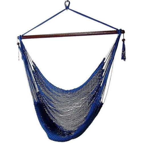 Cotton blue hanging hammock chair with cushions - bohemian ✓