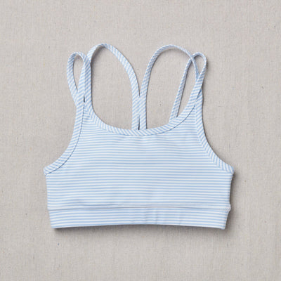 NEW Star Bra in raindrop stripe (Blue and white) Front Side
