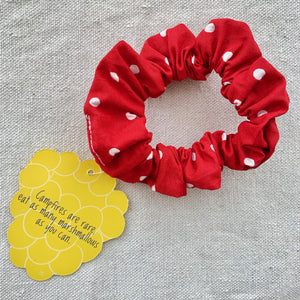 Yellowberry Scrunchie in Apple Dot (Red with White Dots)