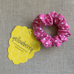Yellowberry Scrunchie in Snow Cone Dot (Pink with white dots)