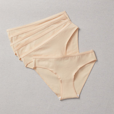 Front view of 6 for $36 Bundle of the Simple Pima Cotton Undie - Seamless underwear for Girls in KIT (nude color) 6 for $36 Bundle of the Simple Pima Cotton Undie - Seamless underwear for Girls in KIT (nude color)