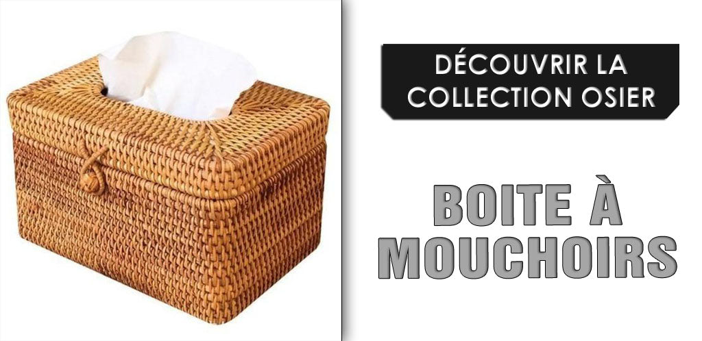 Collection de boites à mouchoirs en osier