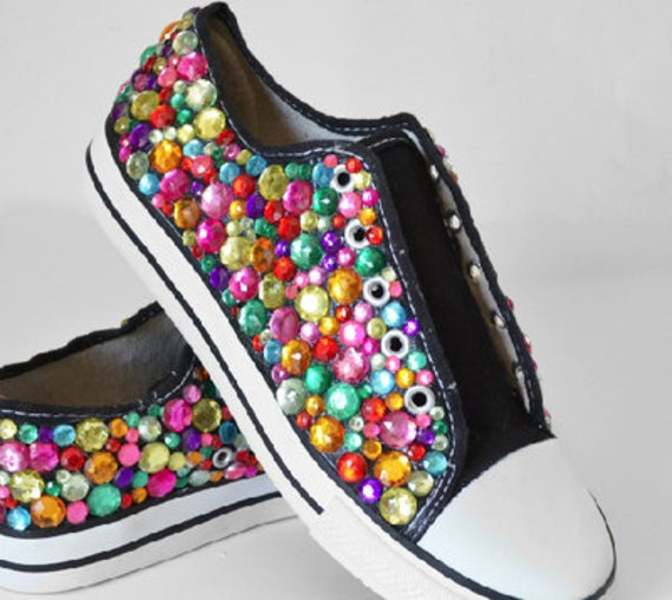 Chaussures strass multicolore