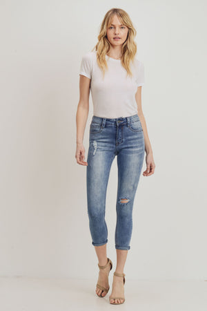 Izzy Destructed Cropped Skinny – Cloud