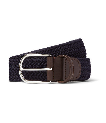 Anderson's Navy Leather-Trimmed Woven Belt