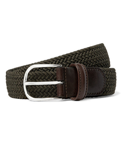Anderson's Leather Trimmed Woven Belt Olive