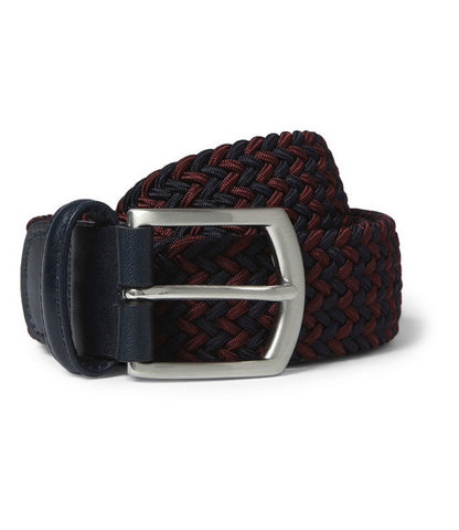 Anderson's Navy/Burgandy Stretch Woven Belt