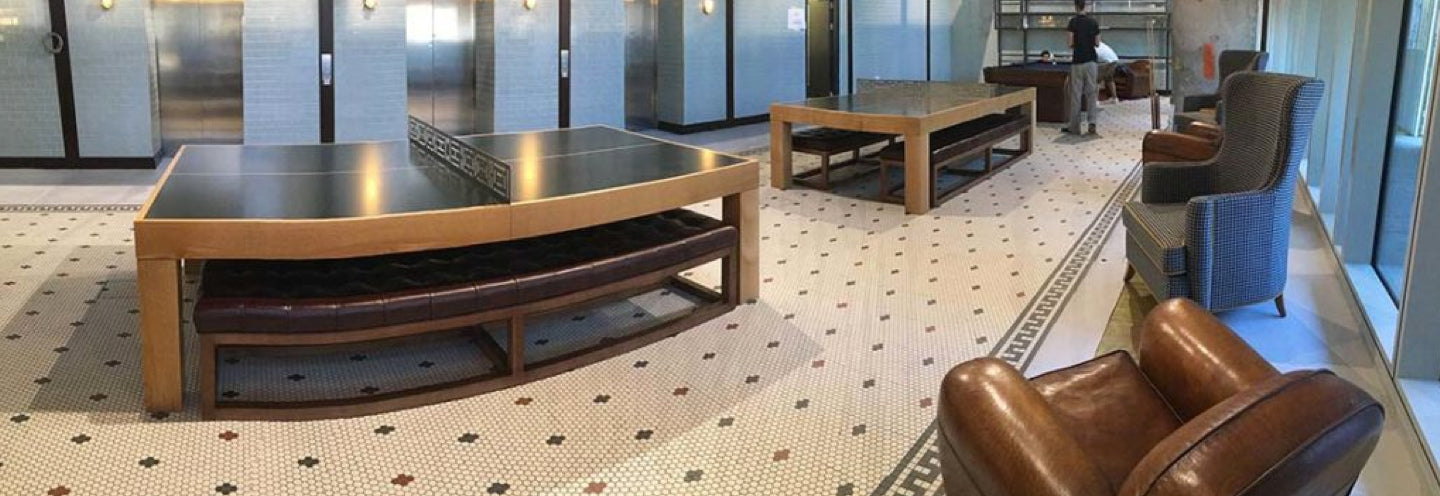 Our stunning bespoke tennis tables welcome foreign students back to school at Kings Cross