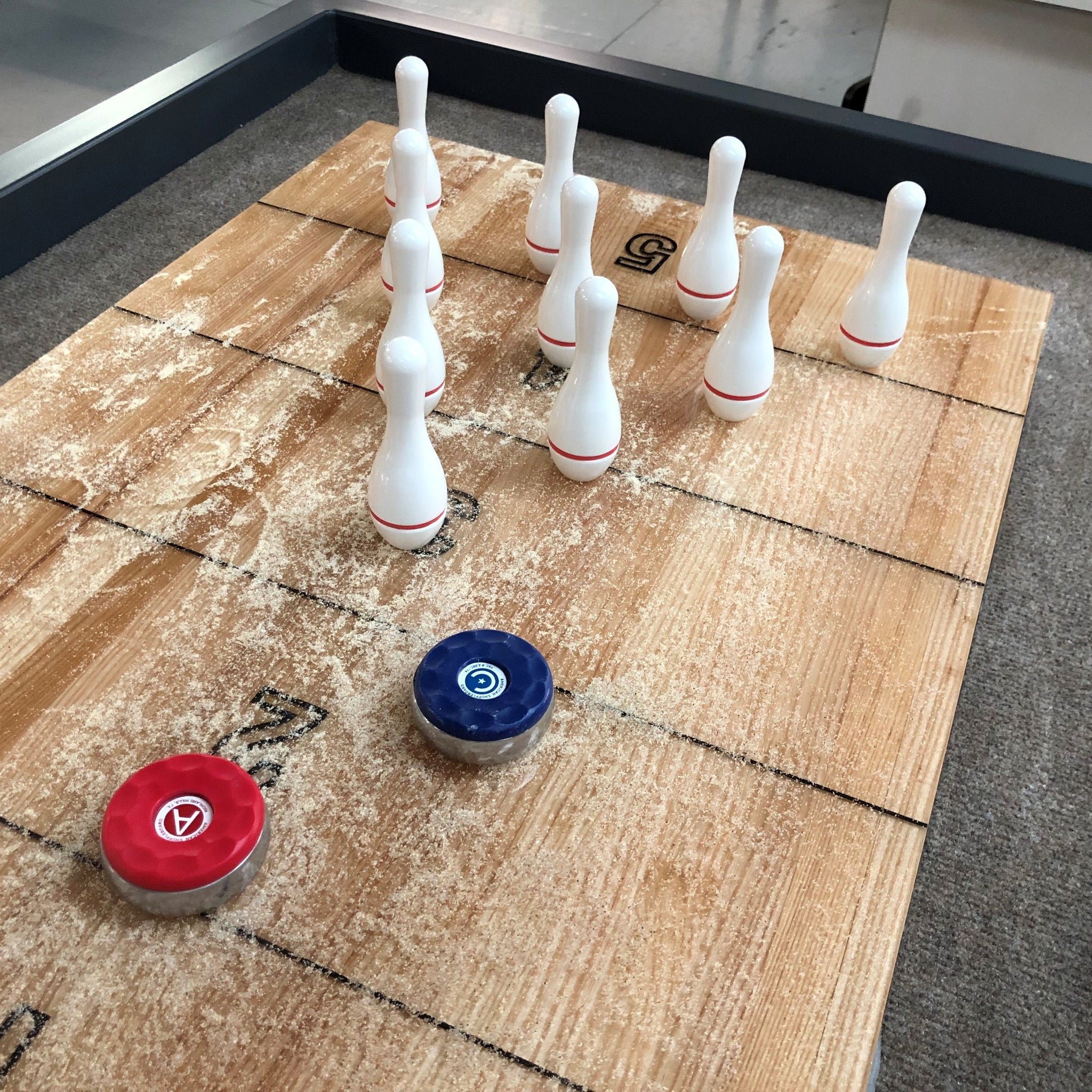 Shuffleboard Bowling Pins with Wooden Rack