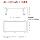 Diagonal American Pool Table in White 7ft, 8ft