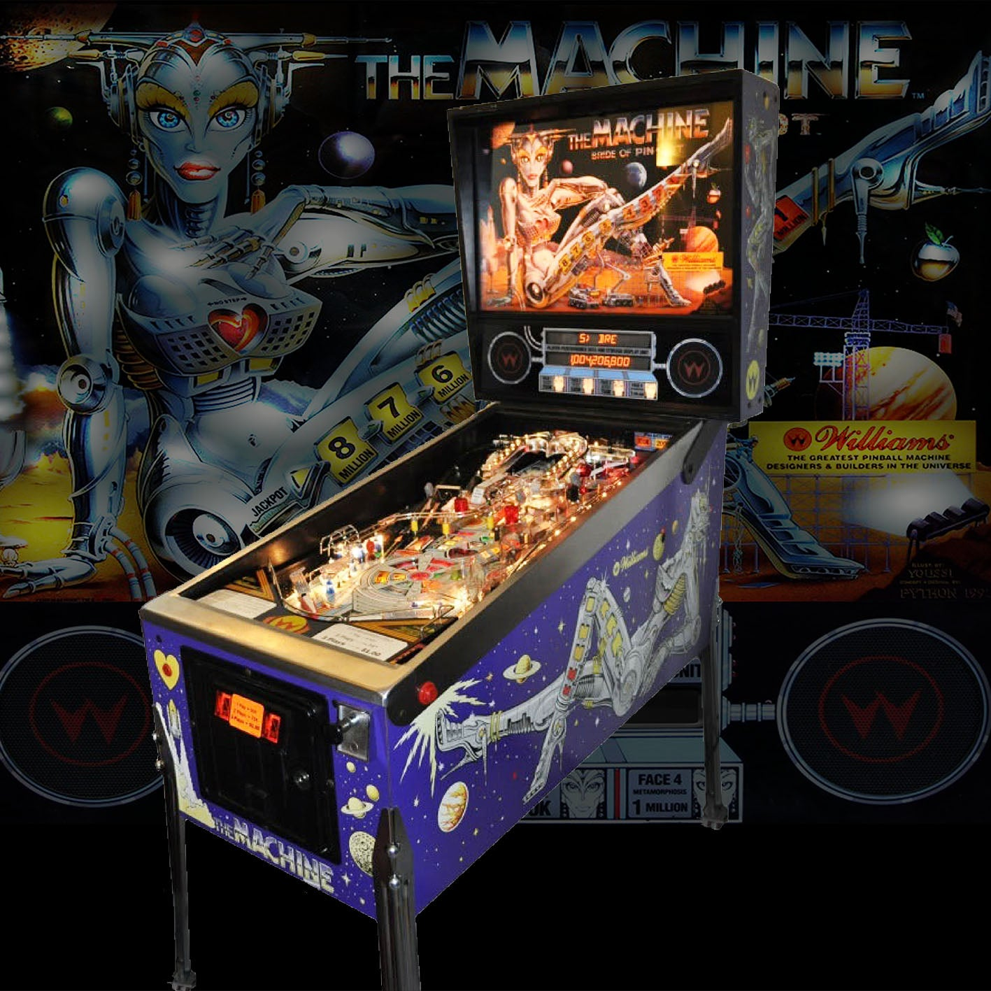 1991 Bride of Pinbot Pinball Machine by Williams 'Coming Soon'
