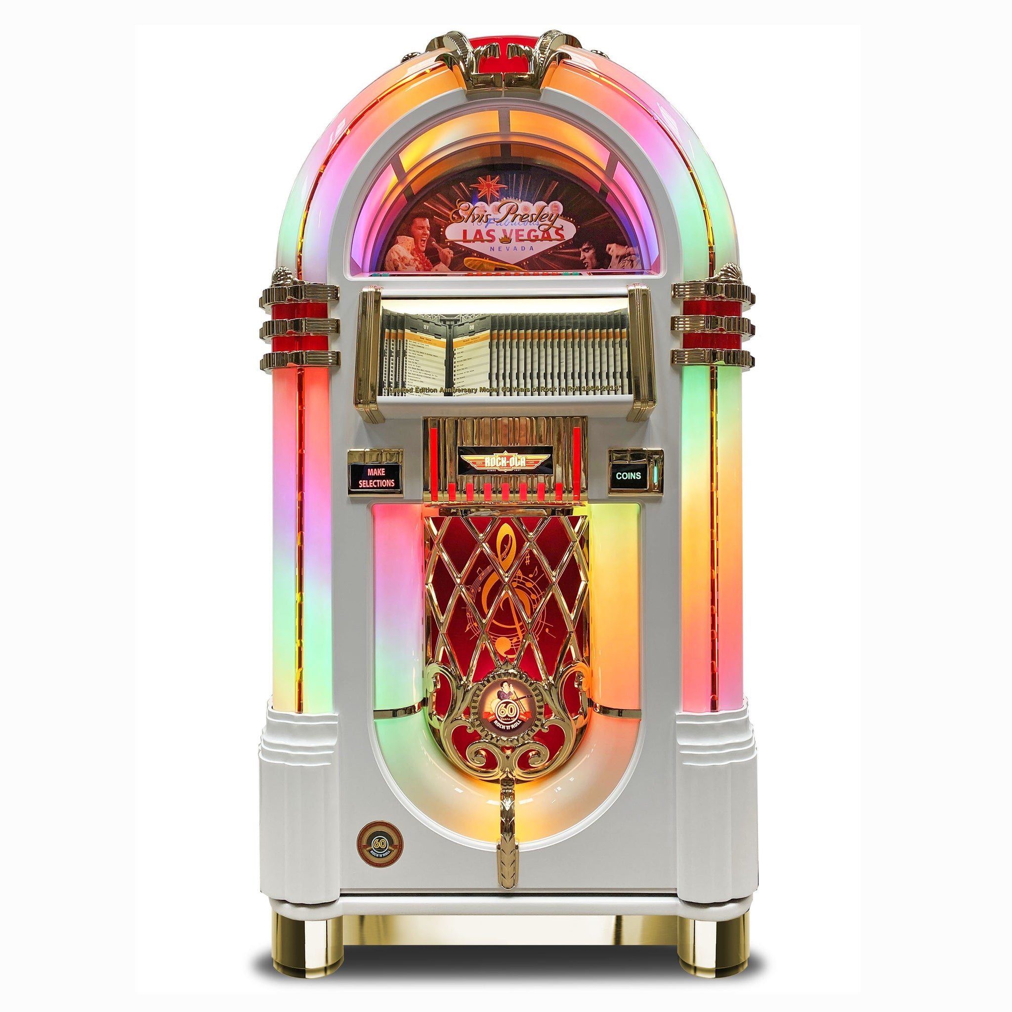 Rock-Ola Bubbler Elvis CD Jukebox White