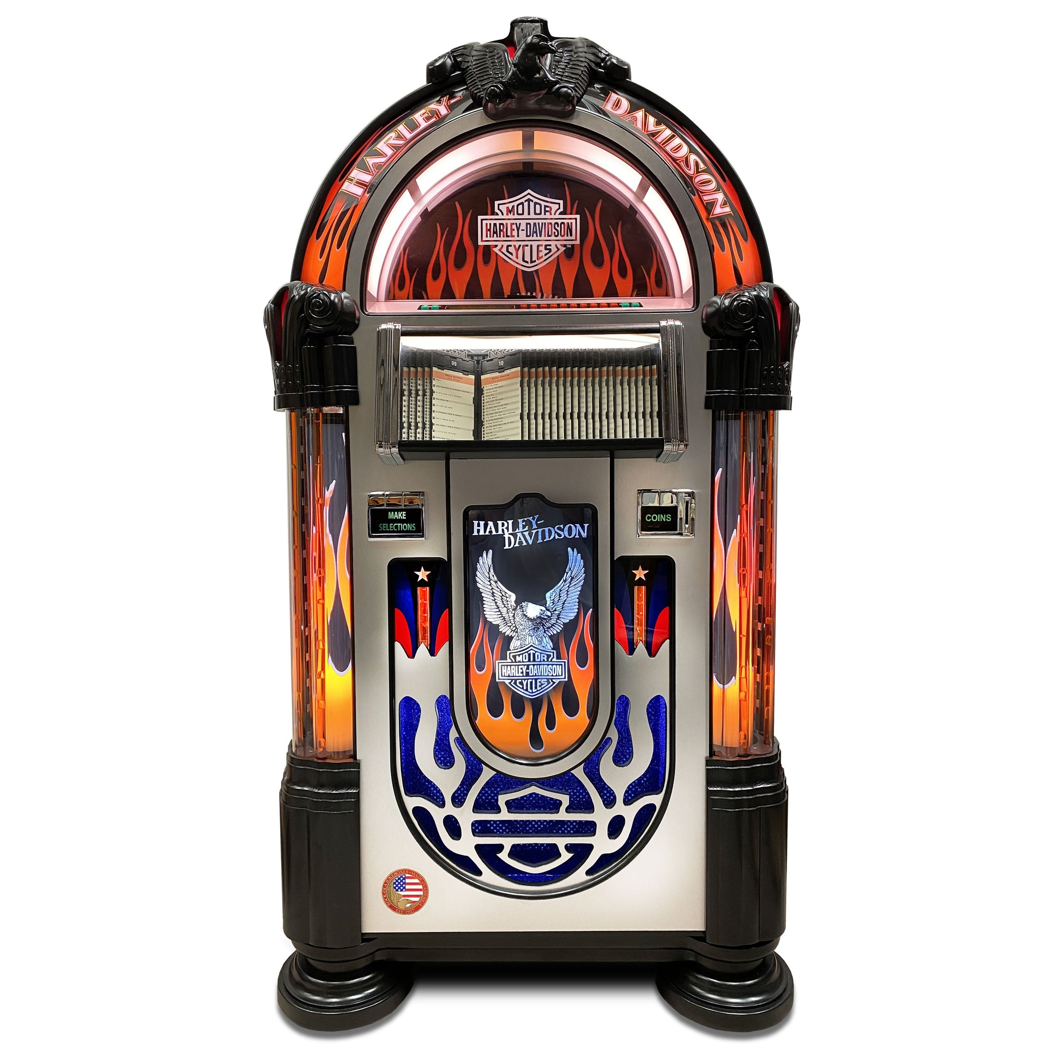 Rock-Ola CD Jukebox Harley Davidson Flames Aluminium