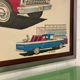 Rare 1966 Ford Pick Up Truck Original Poster in a High Quality Frame