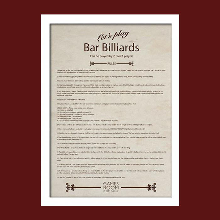 Bar Billiards Rules