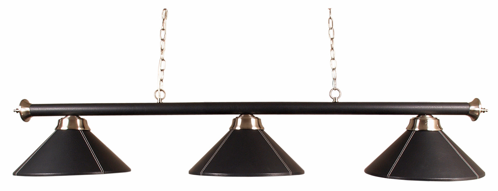 Conical Lamp with Black Leather Shades & Bar
