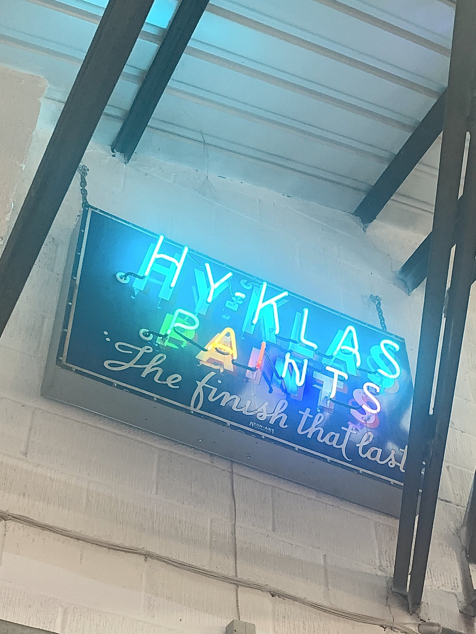 Vintage 1950s Neon Hy-Klas Paints Sign