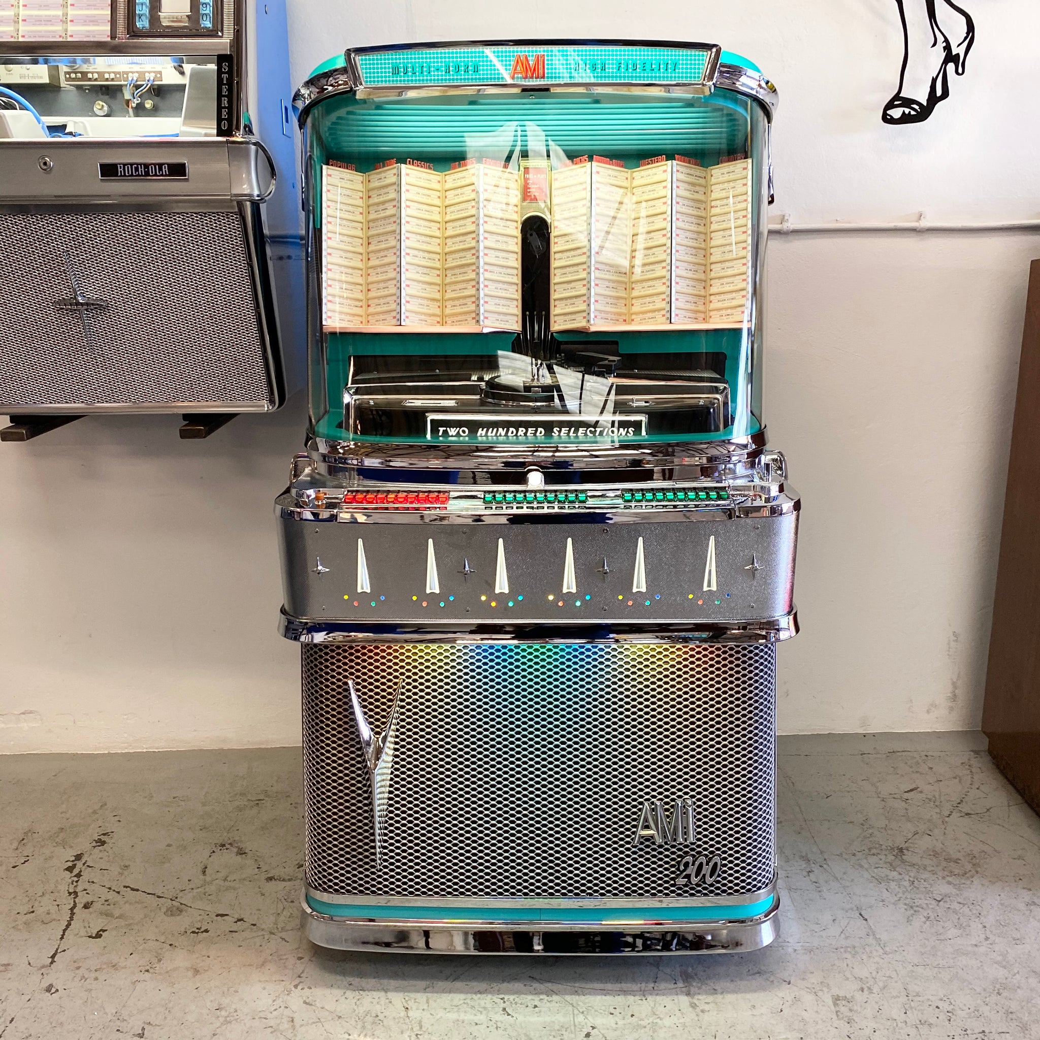 1958 AMI I 200 Vinyl Jukebox with Spearmint Trim