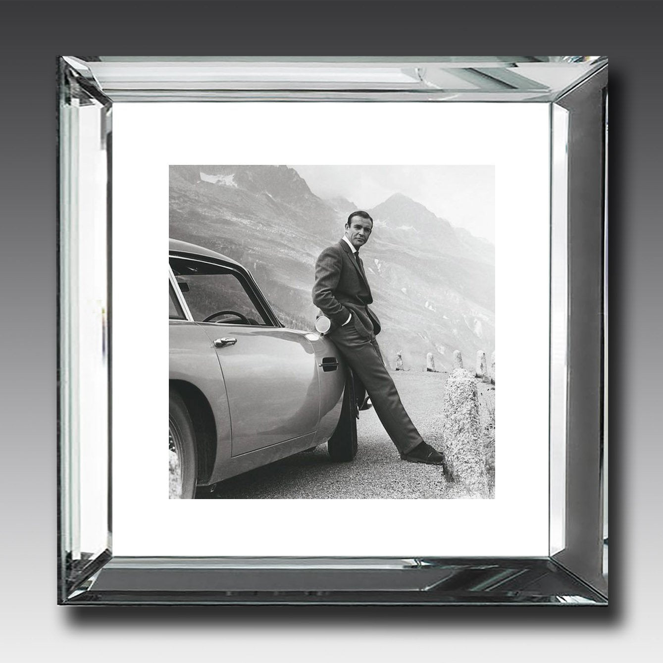 James Bond Aston Martin mirror framed picture