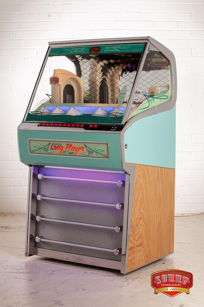 Sound Leisure Vinyl Long Player LP Jukebox Aqua & Light Oak