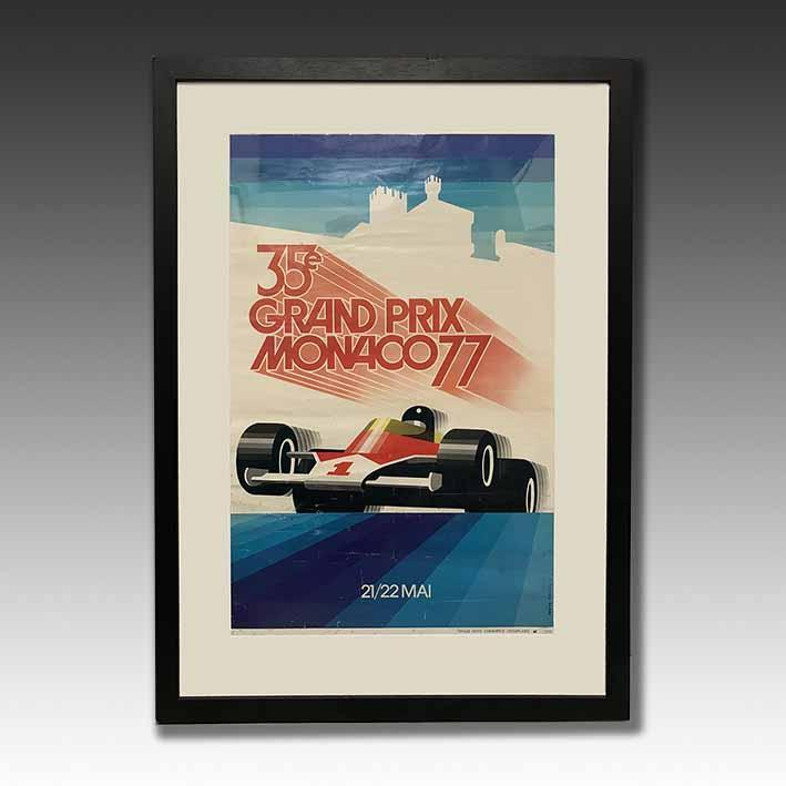 Original Monaco Grand Prix 77 Poster framed