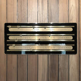 The Olympian Wall Mounted Cue Rack and Scorer with Brass Trim
