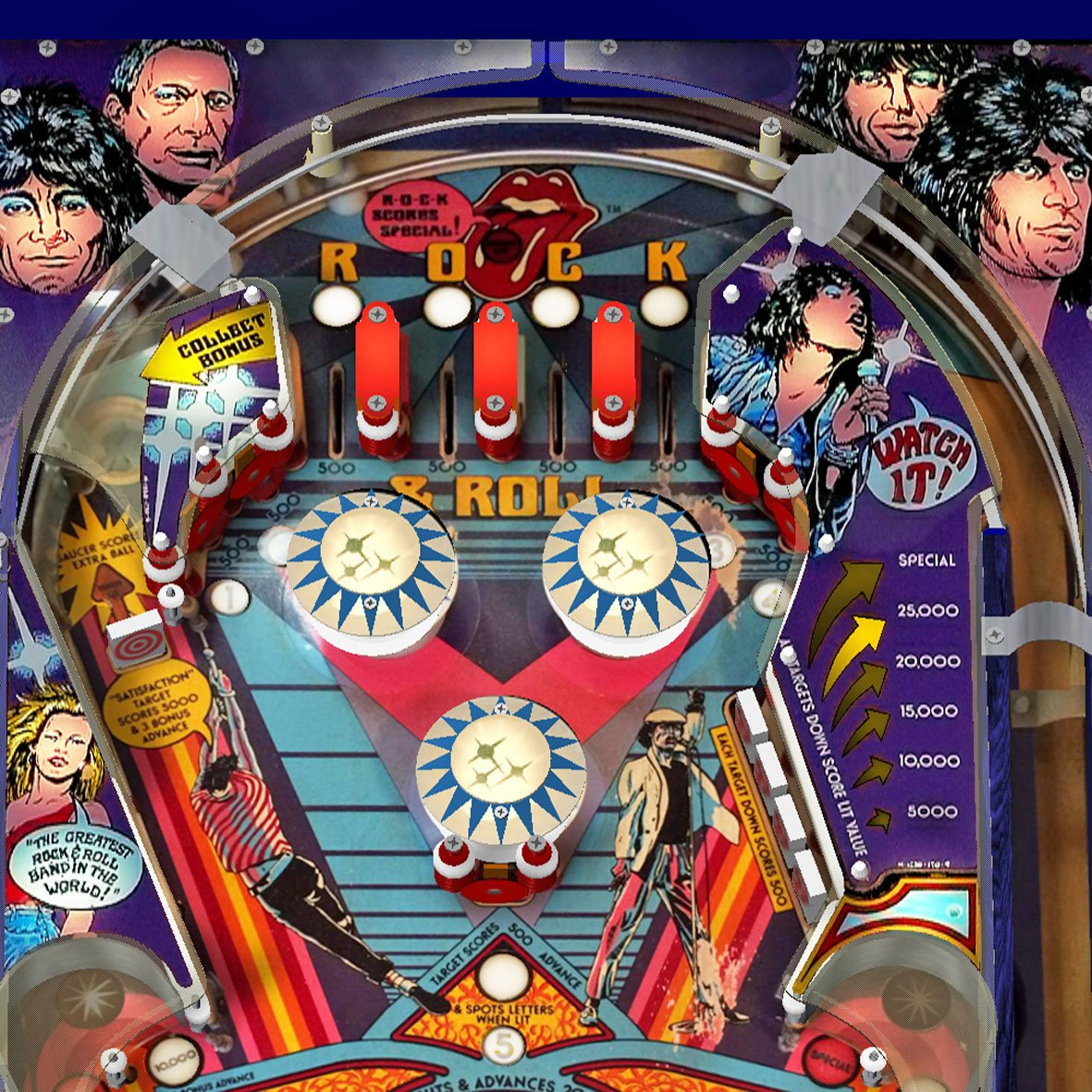 1980 Rolling Stones Pinball Machine 'Coming Soon' by Bally