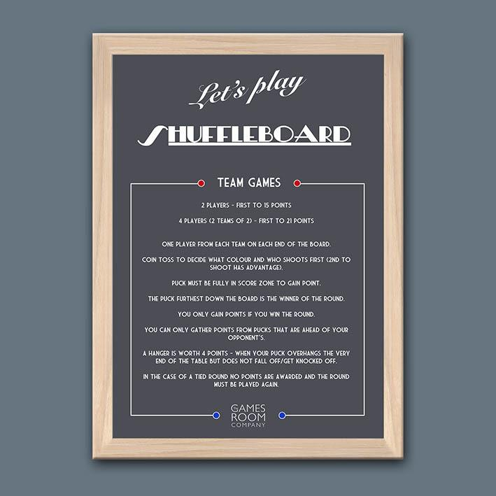 Framed shuffleboard rules with natural wood frame